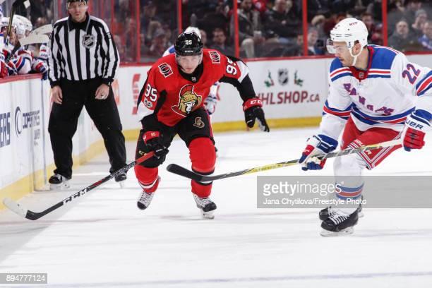 Matt Duchene of the Ottawa Senators skates against Kevin Shattenkirk of the New York Rangers in the second period at Canadian Tire Centre on December...