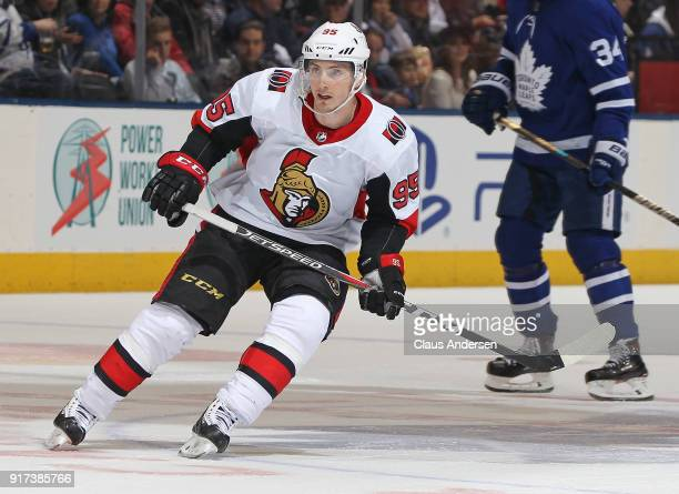 Matt Duchene of the Ottawa Senators skates against the Toronto Maple Leafs during an NHL game at the Air Canada Centre on February 10 2018 in Toronto...