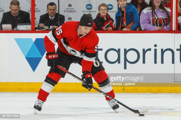Matt Duchene of the Ottawa Senators skates during warmup wearing a toque supporting Hockey Talks / DIFD Awareness Night in prior a game against the...