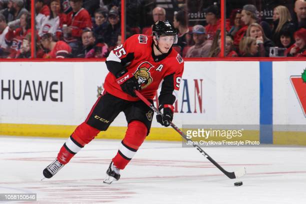 Matt Duchene of the Ottawa Senators skates with the puck against the Montreal Canadiens at Canadian Tire Centre on October 20 2018 in Ottawa Ontario...