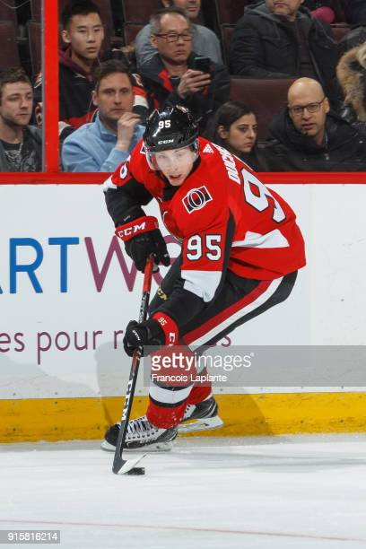 Matt Duchene of the Ottawa Senators skates with the puck against the New Jersey Devils at Canadian Tire Centre on February 7 2018 in Ottawa Ontario...