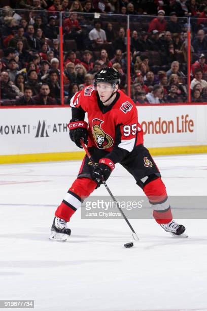Matt Duchene of the Ottawa Senators skates with the puck against the Buffalo Sabres at Canadian Tire Centre on February 15 2018 in Ottawa Ontario...