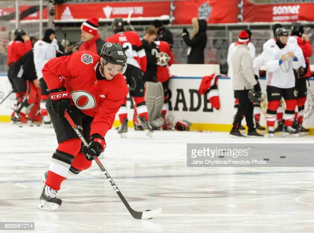 Matt Duchene of the Ottawa Senators skates with the puck during practice at Lansdowne Park on December 15 2017 in Ottawa Canada