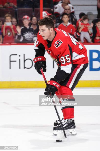 Matt Duchene of the Ottawa Senators skates with the puck during warmups prior to a game against the Chicago Blackhawks at Canadian Tire Centre on...