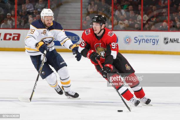Matt Duchene of the Ottawa Senators stickhandles the puck against Zemgus Girgensons of the Buffalo Sabres at Canadian Tire Centre on March 8 2018 in...