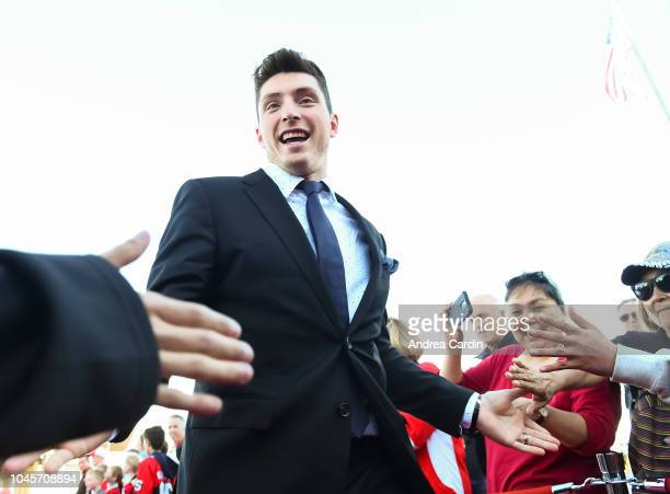 Matt Duchene of the Ottawa Senators walks the red carpet ahead of an NHL game against the Chicago Blackhawks at Canadian Tire Centre on October 4...