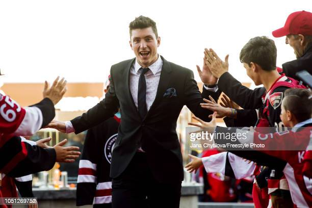 Matt Duchene of the Ottawa Senators walks the red carpet prior to the start of their home opener against the Chicago Blackhawks at Canadian Tire...