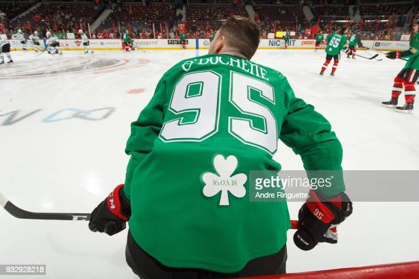 Matt Duchene of the Ottawa Senators warms up in a green jersey for St Patrick's Day prior to a game against the Dallas Stars at Canadian Tire Centre...