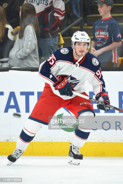 Matt Duchene the Columbus Blue Jackets warms up before the game against the Boston Bruins in Game One of the Eastern Conference Second Round during...