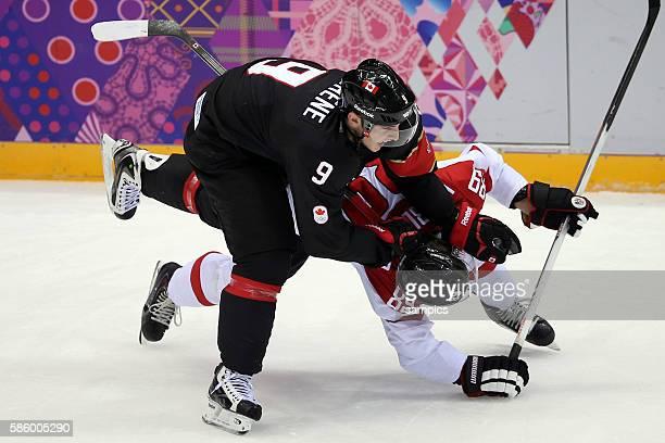 Matt Duchenne , Raphael Herburger Ice Hockey men Premilary Round Group B , Game 9 Bolshoy Ice Dome Canada - Austria Olympic Games Day 6 XXII Olympic...