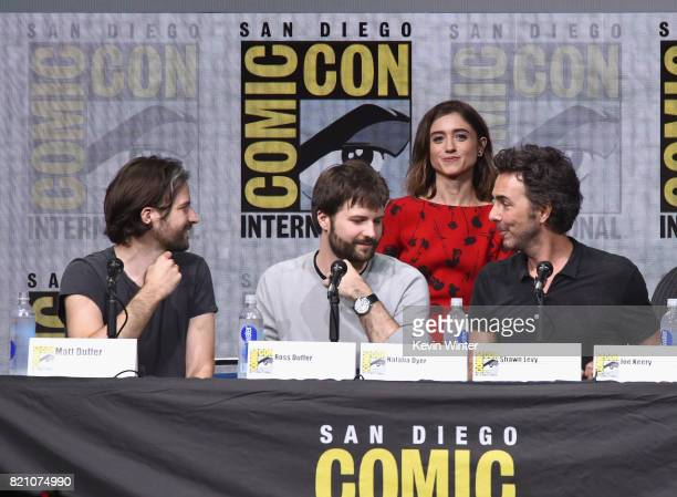 Matt Duffer Ross Duffer Natalia Dyer Shawn Levy attend Netflix's Stranger Things panel during ComicCon International 2017 at San Diego Convention...