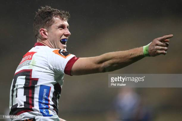 Matt Duffie of North Habou celebrates a try during the round 2 Mitre 10 Cup match between North Harbour and Counties Manukau at QBE Stadium on August...