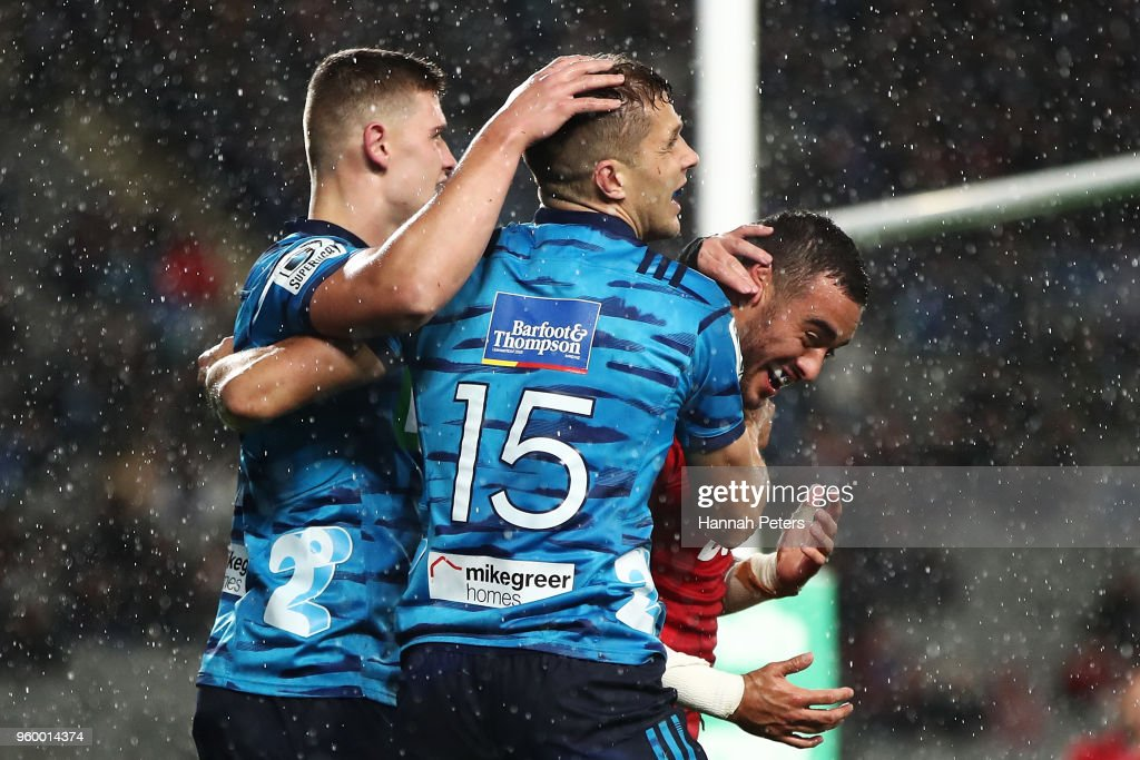 Matt Duffie of the Blues celebrates after scoring a try during the round 14 Super Rugby match between the Blues and the Crusaders at Eden Park on May 19, 2018 in Auckland, New Zealand.