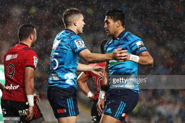 Matt Duffie of the Blues celebrates after scoring a try with Rieko Ioane of the Blues during the round 14 Super Rugby match between the Blues and the...