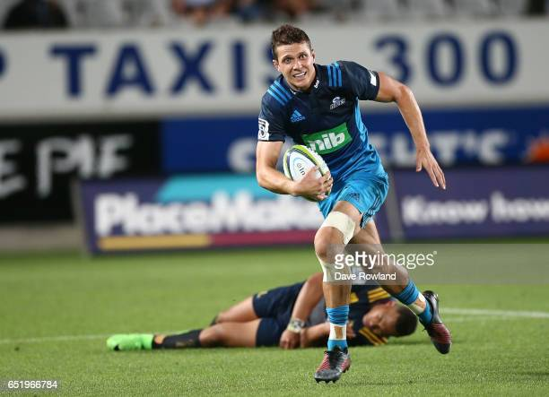 Matt Duffie of the Blues during the round three Super Rugby match between the Blues and the Highlanders at Eden Park on March 11 2017 in Auckland New...