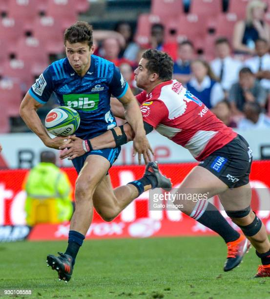 Matt Duffie of the Blues with possession during the Super Rugby match between Emirates Lions and Blues at Emirates Airline Park on March 10, 2018 in...