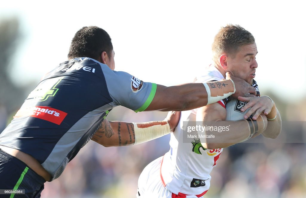 Matt Duffy of the Dragons is tackled by Joseph Leilua of the Raiders during the round 11 NRL match between the St George Illawarra Dragons and the Canberra Raiders at Glen Willow Sporting Complex on May 20, 2018 in Mudgee, Australia.