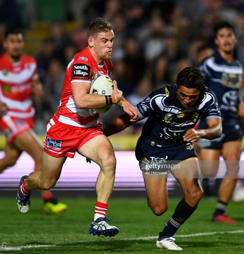 Matt Dufty of the Dragons makes a break which lead to him scoring a try during the round 19 NRL match between the North Queensland Cowboys and the St George Illawarra Dragons at 1300SMILES Stadium on July 21, 2018 in Townsville, Australia.