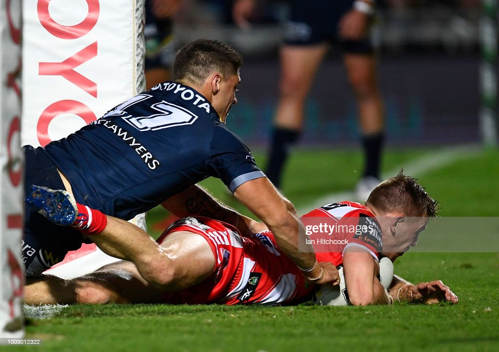 Matt Dufty of the Dragons scores a try during the round 19 NRL match between the North Queensland Cowboys and the St George Illawarra Dragons at 1300SMILES Stadium on July 21, 2018 in Townsville, Australia.