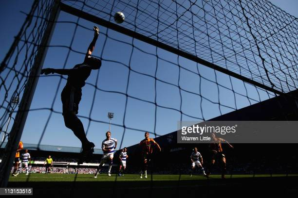 Matt Duke of Hull City saves a shot at goal during the npower Championship match between Queens Park Rangers and Hull City at Loftus Road on April 25...