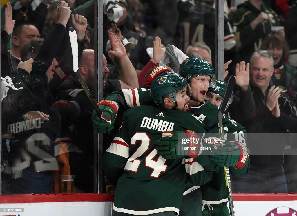 Matt Dumba #24, Eric Staal #12 and Jason Zucker #16 of the Minnesota Wild celebrate a goal against the Winnipeg Jets by Staal during the second period in Game Three of the Western Conference First Round during the 2018 NHL Stanley Cup Playoffs at Xcel Energy Center on April 15, 2018 in St Paul, Minnesota. The Wild defeated the Jets 6-2.