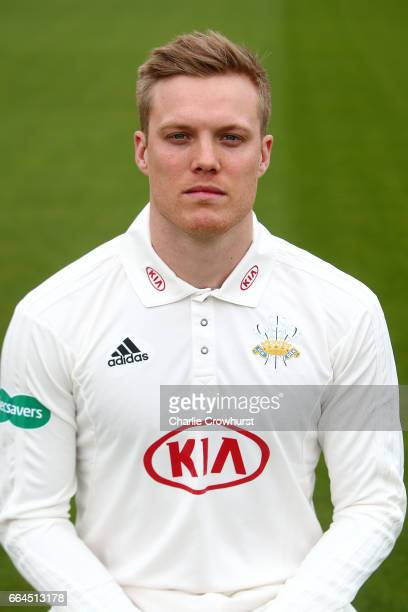 Matt Dunn poses in the Specsavers County Championship kit during the Surrey CCC Photocall at The Kia Oval on April 4 2017 in London England