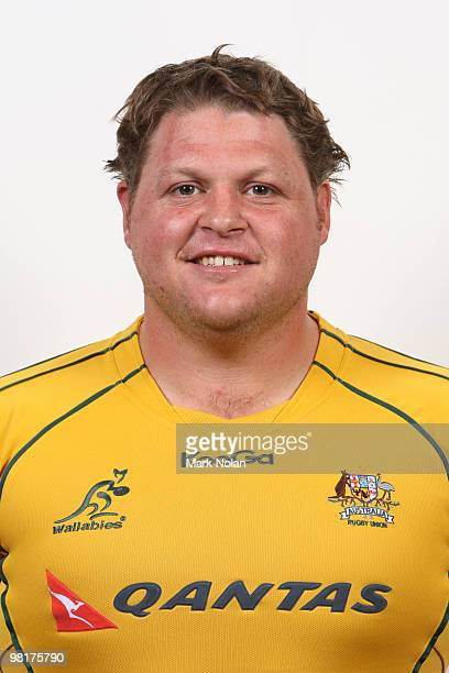 Matt Dunning poses during the Australian Wallabies squad headshots session at Crown Plaza Coogee on October 20 2009 in Sydney Australia
