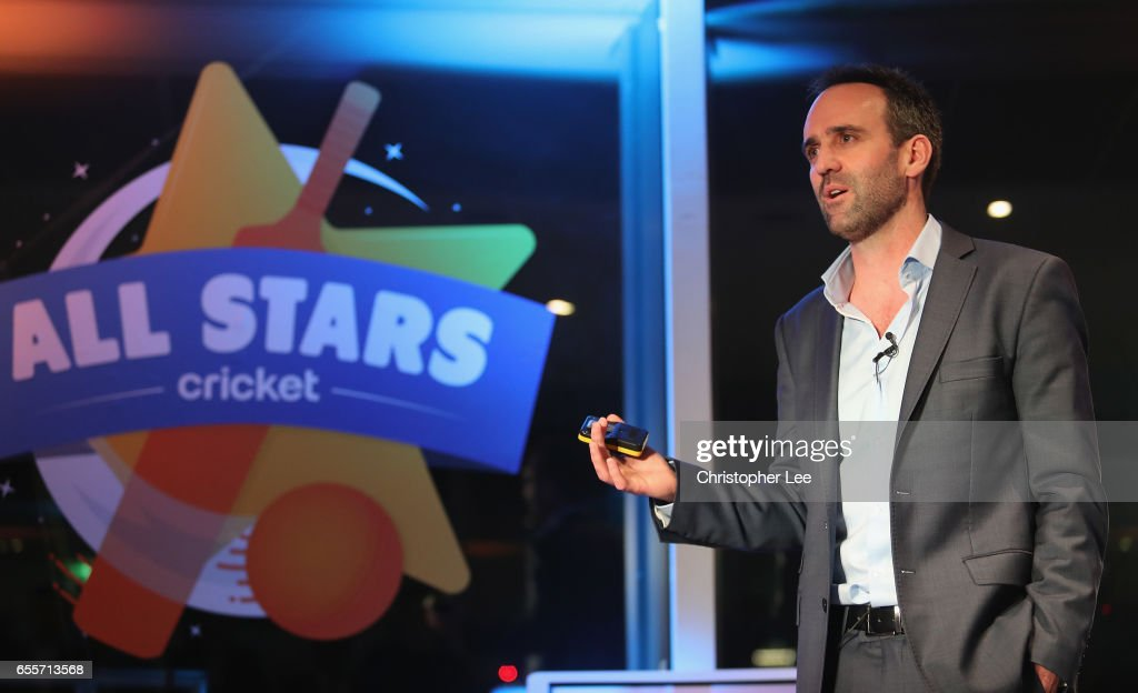 Matt Dwyer gives an introduction to All Star Cricket during the ECB All Stars Cricket Event at the ArcelorMittal Orbit at Queen Elizabeth Olympic Park on March 20, 2017 in London, England.