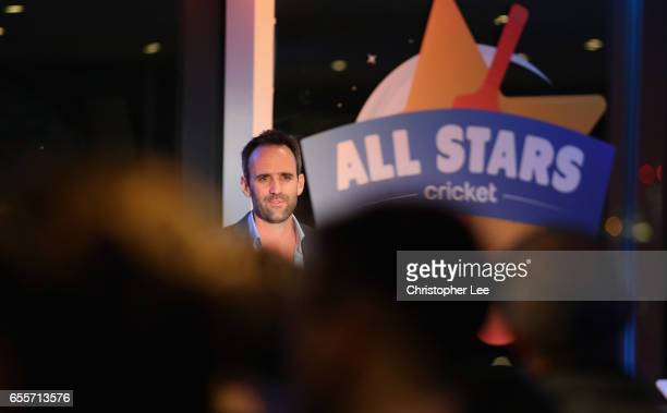 Matt Dwyer gives an introduction to All Star Cricket during the ECB All Stars Cricket Event at the ArcelorMittal Orbit at Queen Elizabeth Olympic...