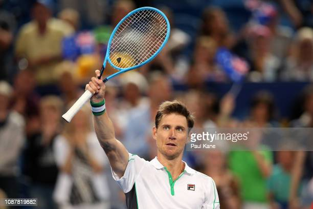 Matt Ebden of Australia celebrates winning his singles match against Lucas Pouille of France during day one of the 2019 Hopman Cup at RAC Arena on...