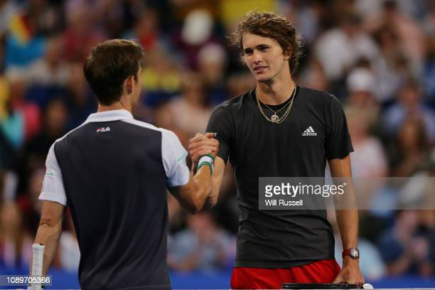 Matt Ebden of Australia congratulates Alexander Zverev of Germany in the mens singles match during day seven of the 2019 Hopman Cup at Perth Arena on...