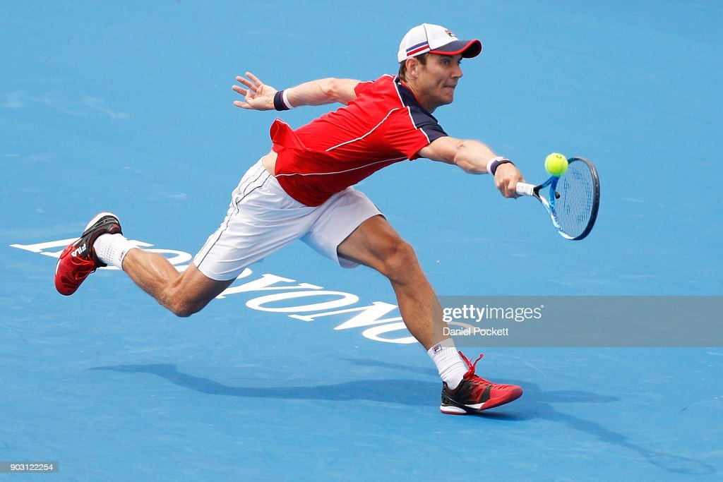 Matt Ebden of Australia plays a backhand against Marin Cilic of Croatia in the 2018 Kooyong Classic at Kooyong on January 10, 2018 in Melbourne, Australia.