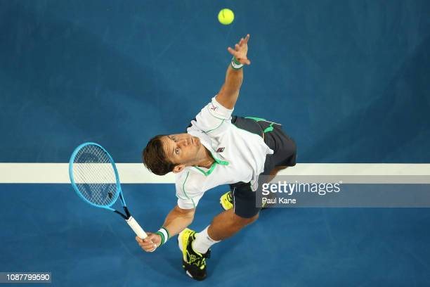 Matt Ebden of Australia serves to Lucas Pouille of France during day one of the 2019 Hopman Cup at RAC Arena on December 29, 2018 in Perth, Australia.