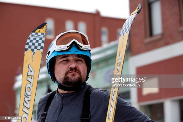 Matt Eger of Leadville Colorado waits for the start of the 71st annual Leadville Ski Joring weekend competition on March 2 2019 in Leadville Colorado...
