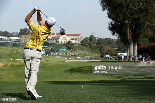 Matt Every hits a tee shot on the 9th hole in the third round of the Northern Trust Open at the Riviera Country Club on February 15 2014 in Pacific...