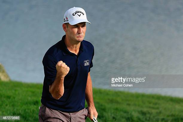 Matt Every of the United States celebrates his putt for birdie on the 18th green during the final round of the Arnold Palmer Invitational Presented...