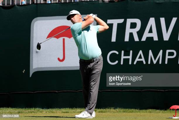 Matt Every of the United States hits from the 1st tee during the First Round of the Travelers Championship on June 21 at TPC River Highlands in...