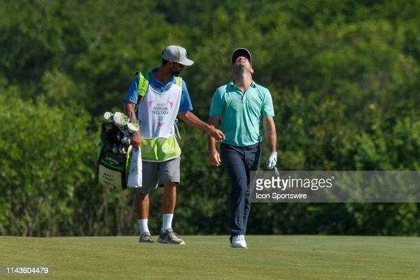 Matt Every reacts after hitting his approach shot to the 15th green during the final round of the ATT Byron Nelson on May 12 2019 at Trinity Forest...