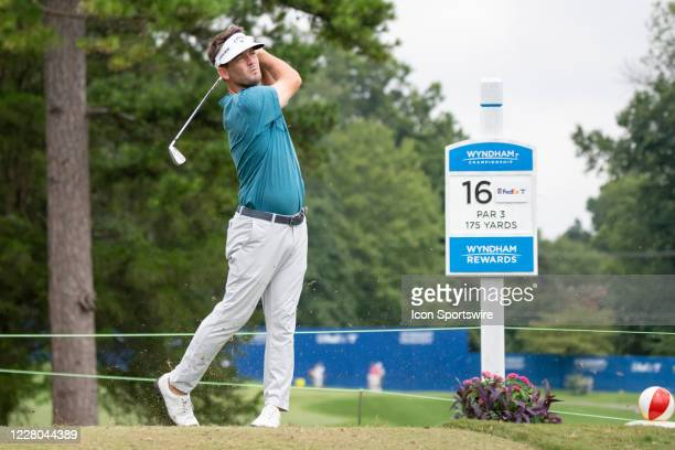 Matt Every tees off on the 16th hole during the first round of the Wyndham Championship golf tournament at Sedgefield Country Club in Greensboro, NC...