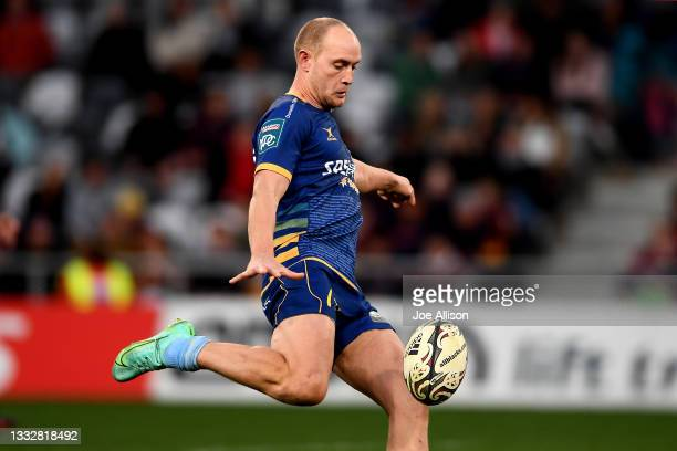 Matt Faddes of Otago kicks the ball during the round one Bunnings NPC match between Otago and Southland at Forsyth Barr Stadium, on August 07 in...