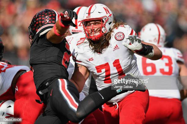 Matt Farniok of the Nebraska Cornhuskers blocks against the Ohio State Buckeyes at Ohio Stadium on November 3 2018 in Columbus Ohio