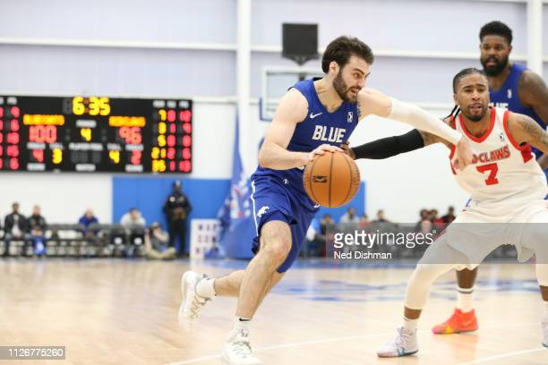 Matt Farrell of the Delaware Blue Coats drives against Trey Davis of the Maine Red Claws during an NBA GLeague game at the 76ers Fieldhouse on...