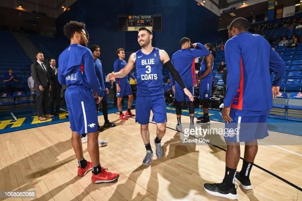 Matt Farrell of the Delaware Blue Coats runs out before an NBA GLeague game against the Westchester Knicks at the Bob Carpenter Center in Newark...