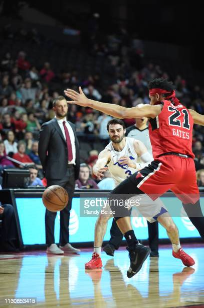 Matt Farrell of the Delaware Blue Coats throws a pass behind Kaiser Gates of the Windy City Bulls during an NBA GLeague game on March 15 2019 at...