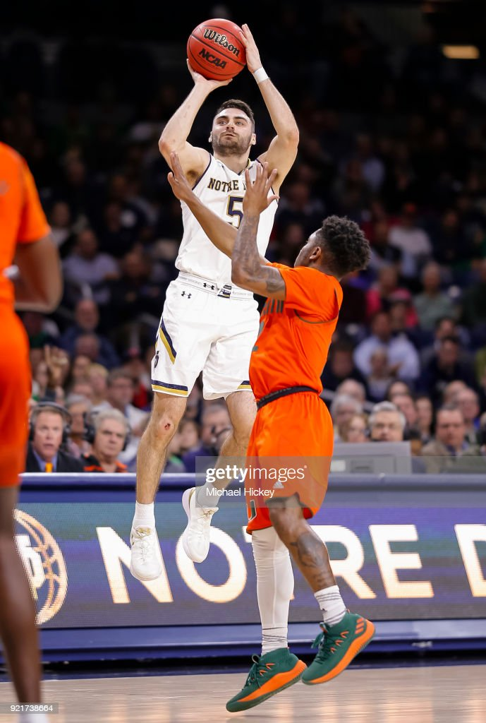 Matt Farrell #5 of the Notre Dame Fighting Irish shoots the ball during the game against the Miami (Fl) Hurricanes at Purcell Pavilion on February 19, 2018 in South Bend, Indiana.