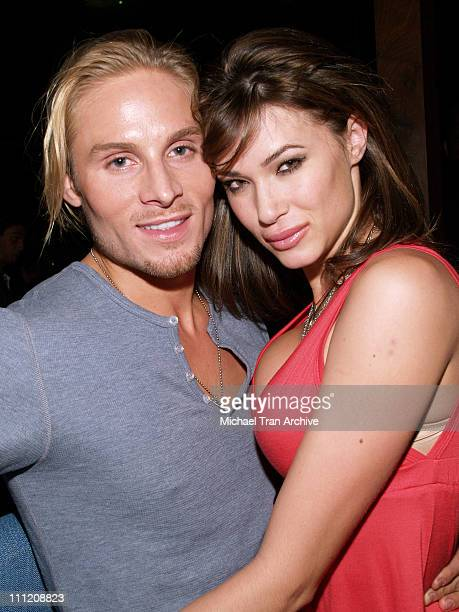 Matt Felker and Erin Naas during The Godfather the Game on XBOX 360 Party at Stone Rose Lounge in Los Angeles California United States