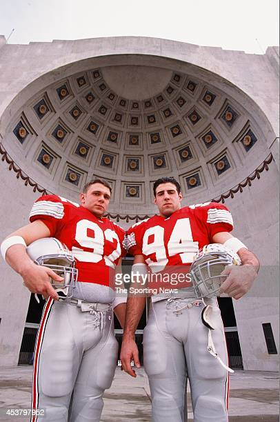 Matt Finkes and Mike Vrabel of the Ohio State Buckeyes pose for a photo on March 15 1996