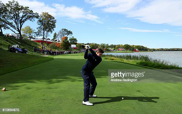 Matt Fitzpatrick hits off a tee while practicing prior to the 2016 Ryder Cup at Hazeltine National Golf Club on September 27, 2016 in Chaska,...