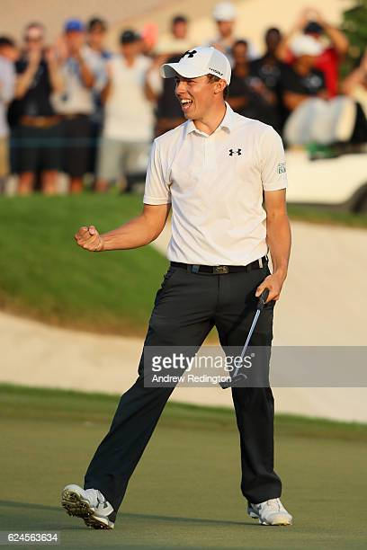 Matt Fitzpatrick of England celebrates holing the winning putt on the 18th green during day four of the DP World Tour Championship at Jumeirah Golf...