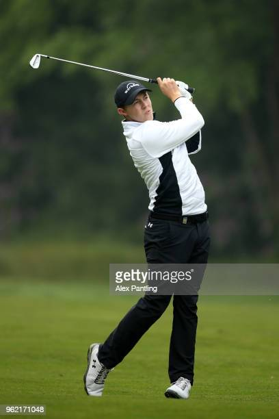 Matt Fitzpatrick of England plays an aproach shot during day one of the 2018 BMW PGA Championship at Wentworth on May 24 2018 in Virginia Water...